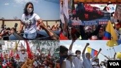 Montaje con imágenes del 8 de abril de 2020 del cierre de la campaña política en Perú y Ecuador. [Fotos: AFP].
