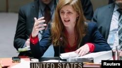 사만사 파워 유엔주재 미국 대사가 6일 유엔 본부에서 열린 우크라이나 사태 관련 안보리 회의에서 발언하고 있다. (자료사진)