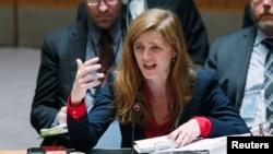 사만사 파워 유엔주재 미국 대사가 유엔 본부에서 열린 안보리 회의에서 발언하고 있다. (자료사진)
