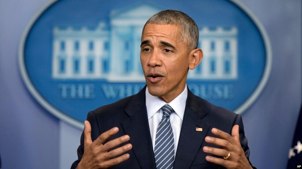 Tổng thống Obama phát biểu trong buổi họp báo ở Tòa Bạch Ốc ngày 14/11/2016.