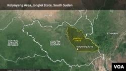 Kolynyang area, Jonglei state, South Sudan.
