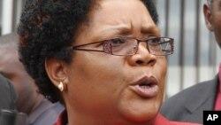 FILE - Zimbabwe's ousted vice president, Joice Mujuru, Feb. 6, 2012.