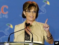 FILE - This May 29, 2014 photo shows Sarah Palin speaking at the Republican Leadership Conference in New Orleans, La.