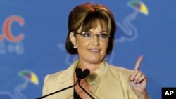 FILE - This May 29, 2014 photo shows Sarah Palin speaking at the Republican Leadership Conference in New Orleans, Louisiana.