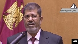 Tân tổng thống Ai Cập Mohamed Morsi phát biểu tại Cairo, sau khi nhậm chức ngày 30 tháng 6, 2012