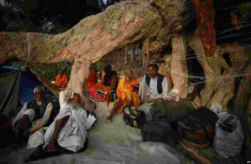 Hindu devotees rest under the roots of a giant tree during the Kumbh Mela festival in Allahabad, India, Feb. 11, 2013.