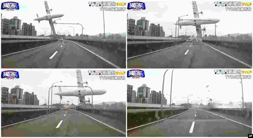 In this combination photo, a series of images taken from video provided by TVBS show a commercial airplane clipping an elevated roadway just before it crashed into a river in Taipei, Taiwan. At least 25 people were killed and nearly 20 others are still missing.