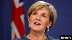 澳大利亞外長畢曉普今年5月4日在悉尼記者會上講話資料照。