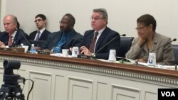 FILE: Congresswoman Karen Bass, D-CA; Congressman Christopher Smith, R-NJ; Congressman Daniel Donovan, R-NY; Congressman Curt Clawson, R-FL