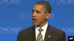 بارک اوباما بعد از اجلاس ناتو در برابر خبرنگاران