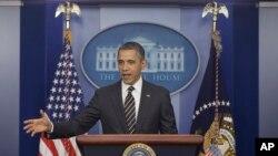Barack Obama, presidente dos Estados Unidos falando a imprensa na Casa Branca (Arquivo)