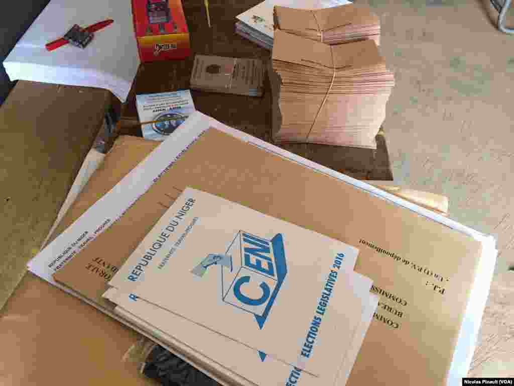 Ballot materials are shown for elections in Niamey, Niger, Feb 21, 2016.