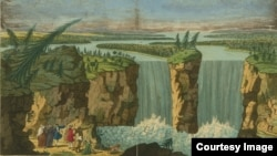 """A """"perspective view"""" of Niagara Falls drawn by Robert Hancock, 1751-1770. The name Niagara is likely derived from the Iroquoian word """"Onguiaahra"""" or """"the Strait."""" Courtesy of the John Carter Brown Library at Brown University."""