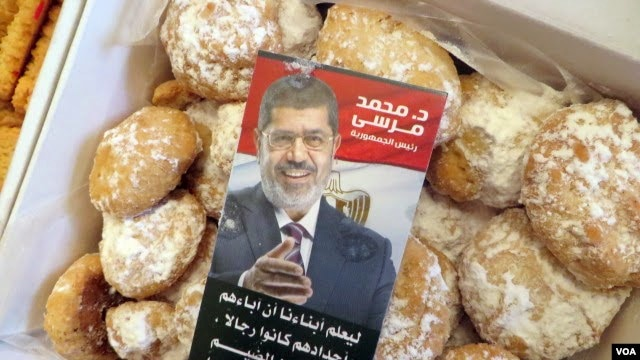 Protesters say they are making these Ramadan sweets in honor of ousted President Mohamed Morsi. (Heather Murdock for VOA)