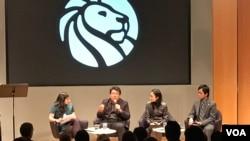 지난 16일 미국 뉴욕공립도서관에서 북한의 반체제 작가 반디의 소설 '고발'을 소개하는 행사가 열렸다.