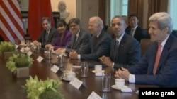 美國總統奧巴馬在白宮和來訪的中國官員會面(照片來源:視頻截圖)