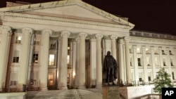미국 워싱턴의 재무부 건물. (자료사진)