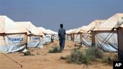Kamp pengungsi Zataari, di Yordania dekat perbatasan Suriah.