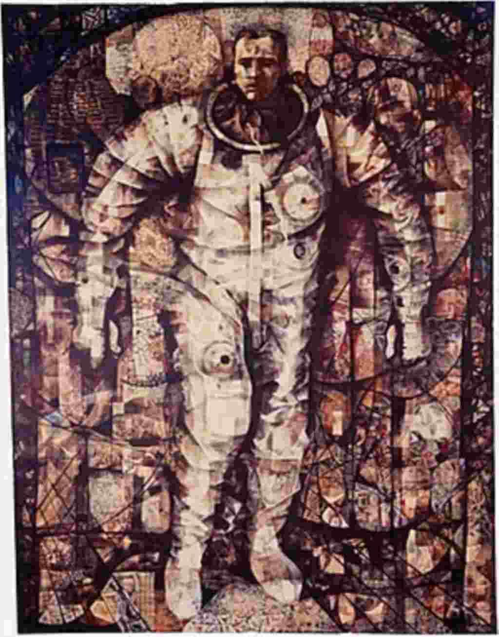 En un a moneda de plata se ilustra al astronauta Gordon Cooper en su traje espacial a pocos pasos del transbordador Mercury.