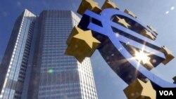 Kantor pusat bank sentral Eropa di Frankfurt, Jerman.