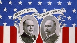 A 1896 campaign poster for William McKinley and Garrett Hobart showing the candidates' support for sound money based on gold and protective tariffs