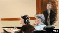 Sketsa gambar saat pembacaan dakwaan bagi warga Iran, Mansour Arbabsiar di pengadilan New York (11/10).