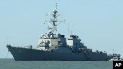 USS Barry, kapal perusak AS, terlihat pada hari Sabtu, 18 Oktober 2008. (Foto: AP)
