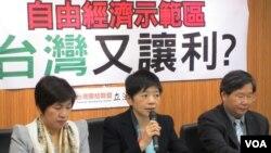 台灣在野台聯黨就自由經濟示範區召開專案會議(美國之音張永泰拍攝)