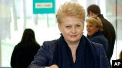 Bà Dalia Grybauskaite hứa trong cuộc vận động tranh cử rằng bà sẽ không rút lui trước sự xâm lấn của Nga.