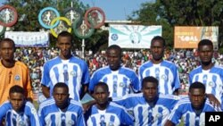 Somalia's national football team, the Ocean Stars, before a World Cup qualifying football match against Ethiopia in Addis Ababa, Nov 16, 2011