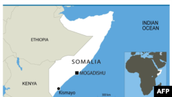 A map of Somalia showing the location of Kismayo.
