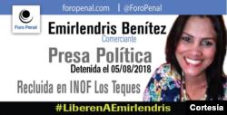 Cartel con el que el Foro Penal pide la liberación de Emirlendris Benítez, detenida en agosto de 2018. Foto: Cortesía - Foro Penal.