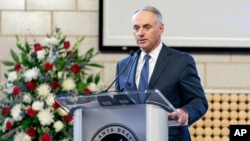 """Major League Baseball Commissioner Rob Manfred speaks during """"A Celebration of Henry Louis Aaron,"""" a memorial service celebrating the life and enduring legacy of the late Hall of Famer and American icon, on Jan. 26, 2021, at Truist Park in Atlanta."""