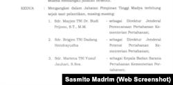 Keputusan Presiden (Keppres) Nomor 166 Tahun 2020. (Foto: Screen shot/Sasmito Madrim)