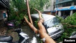 Bão Soulik đã thổi vào duyên hải đông bắc Đài Loan sáng thứ bảy, 13/7/2013.