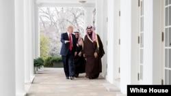 پرزیدنت ترامپ در یکی از ملاقاتهایش با ولیعهد عربستان در کاخ سفید