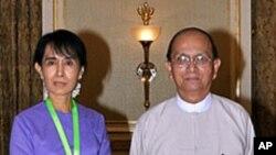 آنگ ساں سوچی اور برما کے صدر تھین سین