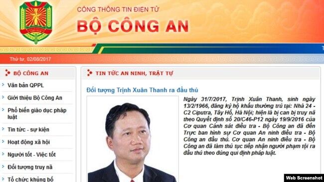 Thông cáo của bộ Công an về việc đầu thú của Trịnh Xuân Thanh hôm 31/7 tại Hà Nội.