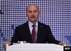 Turkey's Interior Minister Suleyman Soylu delivers a speech in Ankara, Oct. 3, 2019.