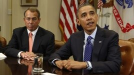 US President Barack Obama speaks at a White House meeting on the economy with congressional leaders November 16, 2012. To the president's left is House Speaker John Boehner.