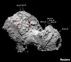Pits on the surface of Comet 67P/Churyumov Gerasimenko's northern hemisphere are pictured in this August 3, 2014 handout photo obtained by Reuters, July 1, 2015.