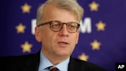 FILE - Hansjoerg Haber, the European Union monitoring mission chief in Georgia, Dec. 22, 2009. A radio report said Germany's BND foreign intelligence service spied on Haber from 2008-2011 when he was head of the EU's observer mission in Georgia and subsequently a senior diplomat in Brussels.