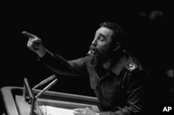 FILE - In this Oct. 12, 1979, file photo, Cuban President Fidel Castro points during his lengthy speech before the U.N. General Assembly, in New York.