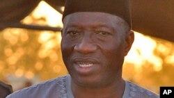 Shugaban Najeriya Goodluck Jonathan a Maiduguri, Janairu 15, 2014.