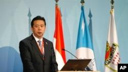 2014年11月4日中華人民共和國公安部副部長孟宏偉在摩納哥舉行的第83屆國際刑警組織大會上致辭。