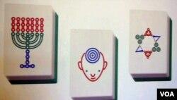 犹太风的麻将艺术图案(美国之音国符拍摄)