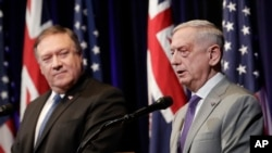 "U.S. Secretary of Defense Jim Mattis, right, speaks next to U.S. Secretary of State Mike Pompeo at the 2018 Australia-U.S. Ministerial Consultations in Stanford, Calif., July 24, 2018. The two secretaries travel to India for ""2 plus 2"" dialogue Thursday."