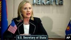 La secretaria de Estado Hillary Clinton habla durante una reunión de la ASEAN en Jakarta, Indonesia, este martes 4 de septiembre.