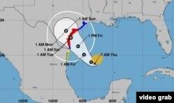 الگوی مسیری که توفان هاروی احتمالا طی خواهد کرد.