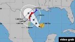 شبکه های مربوط به هوا و تغییرات اقلیمی پیش بینی می کنند این توفان به سمت تگزاس در حرکت باشد.